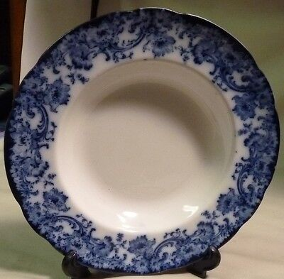 MELROSE FLOW BLUE SCROLL EDGE LARGE RIM SOUP BOWL (ROYAL) DOULTON BURSLEM 1898