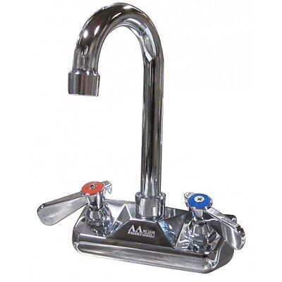 "4"" Wall Mount Faucet with 3-1/2"" Gooseneck Spout NSF"