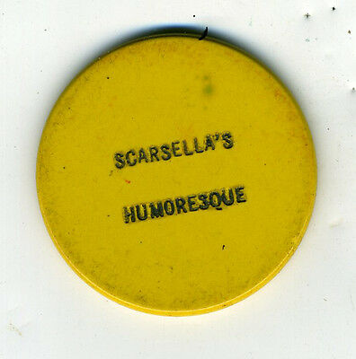Old 50 cent Yellow Poker Chip from Scarsella's Humoresque
