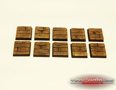 Wargames 10 x 20mm Wood Plank / Wooden Pirate Ship Decking Resin Bases