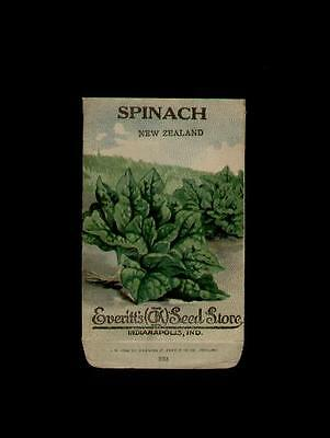 1910's SPINACH NEW ZEALAND LITHO SEED PACKET - EVERITT'S SEED, INDIANAPOLIS,IND