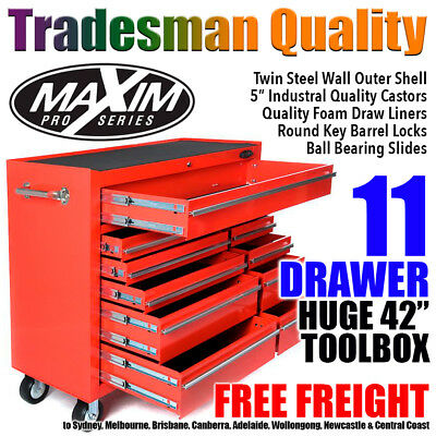 "MAXIM 42"" Red Tool Cabinet 11 Drawer Box Toolbox Trolley Roller Roll Garage"