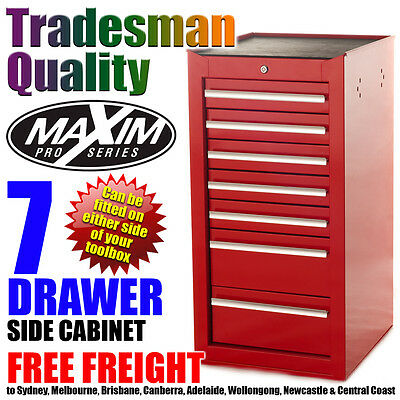 MAXIM 7 Drawer Side Cabinet Tool Box Chest Toolbox Storage Workshop Shed Red