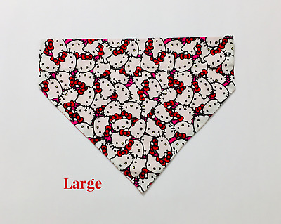 Over Collar Slide On Pet Dog Cat Bandana Scarf Hello Kitty Faces All Over