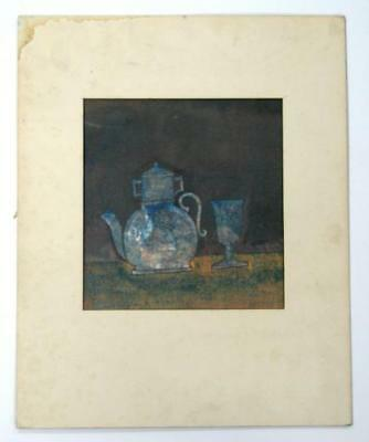 EARLY OLD NATURE MORTE STILL LIFE KETTLE & GLASS PAINTING AUTHOR ARTIST SIGNED
