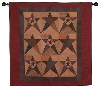 """PRIMITIVE STAR TEA DYED QUILTED WALLHANGING ~ TABLE TOPPER ~ LAP QUILT 43""""x43"""""""