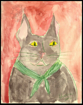 ORIGINAL watercolor PAINTING : Frank the cat SIGNED with red back + green collar