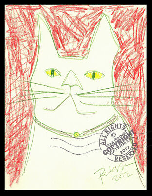 Friend's white Cat Felix 2012 Original DRAWING ILLUSTRATION Kitty Lovers SIGNED
