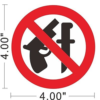 No Guns Weapons Vinyl Sticker Warning Safety Sign Store Office Building ~A161