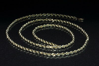 """14K Solid Yellow Gold Diamond Cut Rope Chain 30"""" Long 4MM Thick 39.42 Grams"""