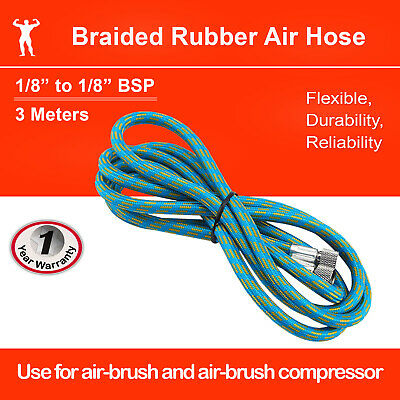 "Airbrush Air Hose 3M/10FT Braided Rubber 1/8""-1/8"""