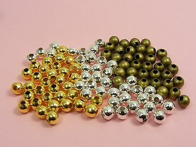 200 x Smooth ROUND Metal  Spacer BEADS Findings 3mm 4mm ~SILVER / GOLD / BRONZE~