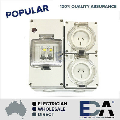 3 pin 2 x 15 Amp Socket RCD Combination Outlet 4 Pole Switchboard IP66 rcbo