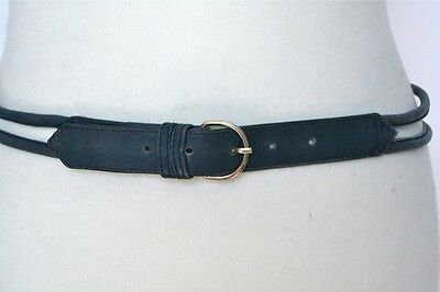 S - Vintage Belt - Double strand blue leather 80's vintage belt