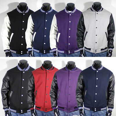 Men's New Varsity Letterman Faux LEATHER Baseball Jacket XS,S,M,L,XL,2XL 7colors