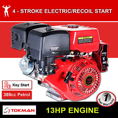 13HP Petrol Engine OHV Stationary Motor Horizontal Shaft Electric Start Recoil