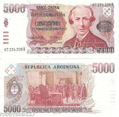 ARGENTINA 5000 Pesos Banknote World Money Currency BILL p318 South America Note