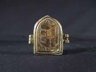 Rare Tibetan Buddhist brass amulet relic box decorated with calligraphy