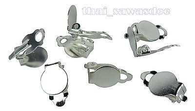 Silver Plated Earring Clip Base Findings Supplies Craft Blank Jewelry Making Lot