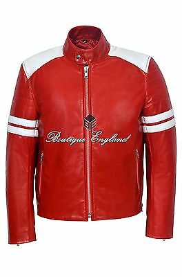 'MAYHEM' Mens RED With WHITE Stripes Jacket Biker Style Fight Club 100% LEATHER