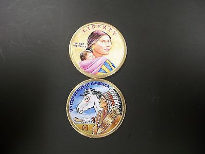 2012 Native American Dollar Colorized on Both Sides