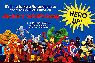 SUPER HERO SQUAD BIRTHDAY PARTY  INVITATIONS 24hr Service UPRINT 4x6 or 5x7