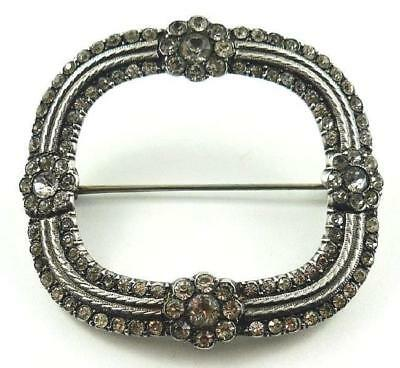 Superb Quality Vintage Silver Toned Scarf Pin Set with Diamante Rhinestones