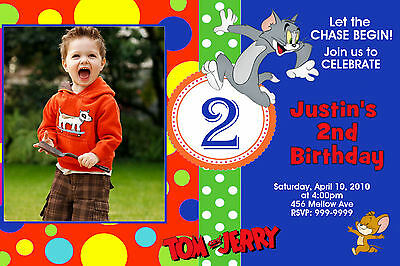 TOM  & AND JERRY BIRTHDAY PARTY  INVITATIONS 24hr Service UPRINT 4x6 or 5x7
