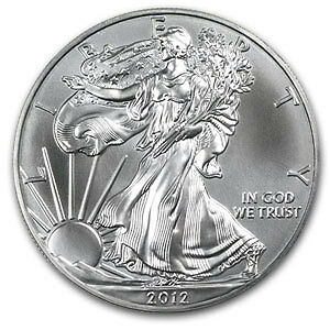 """2012""S"" AMERICAN EAGLE,1ozt 999 FINE SILVER*GEM**BU*IN PLASTIC FLIP.*IN STOCK*"