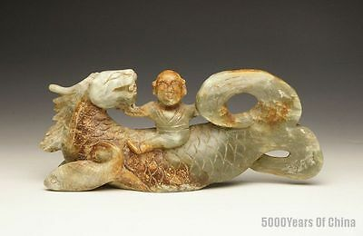 "9"" Great Old Chinese Children Riding Dragon Fish Serpentine Jade Statue"
