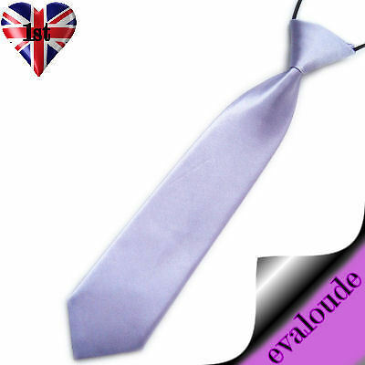 Lilac Boys Girls Childs Pre-tied Elasticated Neck Tie Uniform Party Prom Wedding