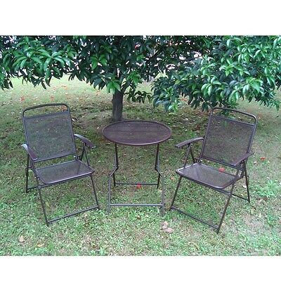 Bistro Patio set 3pc Folding Table/Chair Outdoor Furniture Wrought Iron CAFE set