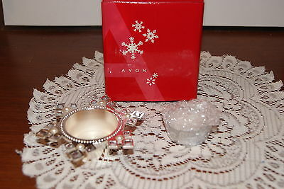 AVON  2006  MAJESTIC  HOLIDAY  JEWELED  SNOWFLAKE  TEALIGHTS  SILVER