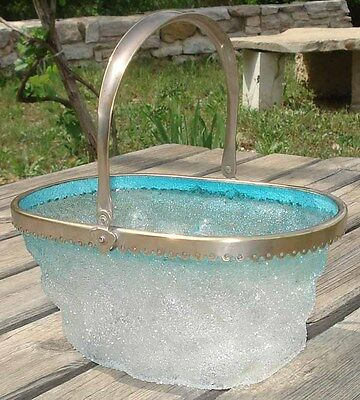 -Unusual Glass Bag Basket Sac Panier Art Deco en verre