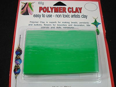 Modelling Polymer Clay Art/Craft Oven Bake 60g Green Baking Baked FREE POSTAGE