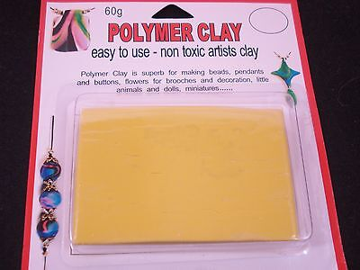 Modelling Polymer Clay Art/Craft Oven Bake 60g Yellow Party Fun FREE POSTAGE