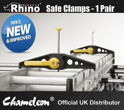 Rhino Roof Rack Ladder Safe Clamps Lockable | 1 Pair | Wide Version
