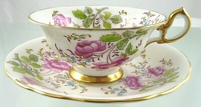 Butterfly & Roses Tea Cup & Saucer 4209A Scalloped By Royal Chelsea