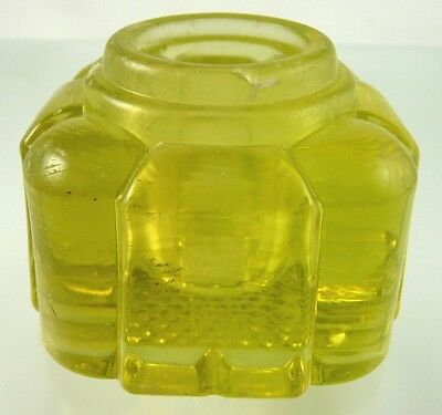 Rounded Vaseline Glass Ink Well By Unknown American Maker