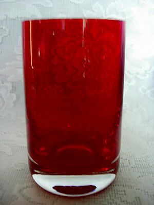 Beautiful Ruby Red / Crystal Blown Glass Vase - Weighted Bottom