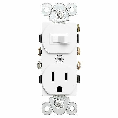 15A Switch & Receptacle Combo Single Pole 62150-White Outlet & Light Control