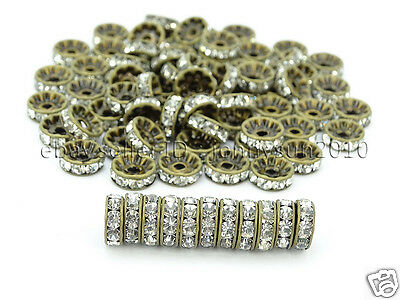 100P Czech Crystal Rhinestones Bronze Rondelle Spacer Beads 4mm 5mm 6mm 8mm 10mm