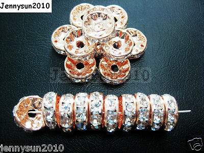 100pcs Czech Crystal Rhinestone Rose Gold Rondelle Spacer Beads 5mm 6mm 8mm 10mm