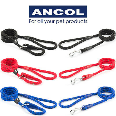 NEW Ancol Strong Reflective Nylon Standard or Slip Rope Lead Black Red Blue