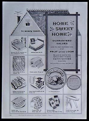 Vintage 1955 Fruit of the Loom Household Goods Magazine Ad