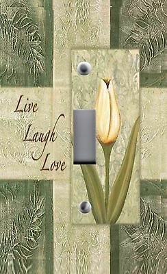 Light Switch Plate & Outlet Covers INSPIRATIONAL ~ LIVE LOVE LAUGH TULIPS Pretty