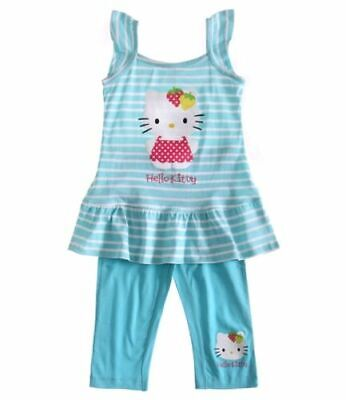 Girls NWT SANRIO HELLO KITTY TUNIC TOP DRESS LEGGINGS SET 2 3 4 5 6 7 8 9 10 YRS