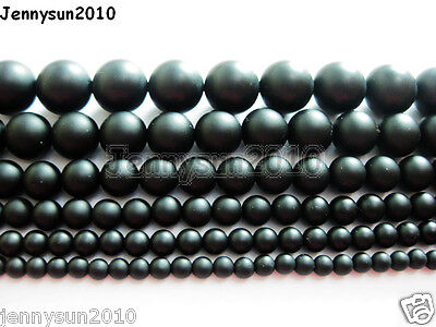 Natural Onyx Gemstone Round Beads Matte Black 15.5'' 4mm 5mm 6mm 8mm 10mm 12mm