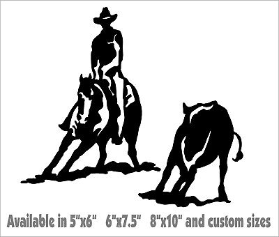 Cutting Horse Decal Trailer Rodeo Cowboy car truck window vinyl sticker graphic