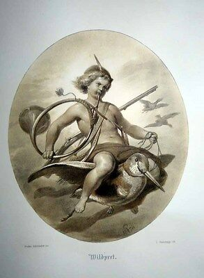 1871 Adolph Schroedter Fine Art Litho FAIRY LAD ON BIRD WITH HUNTING HORN & GUN